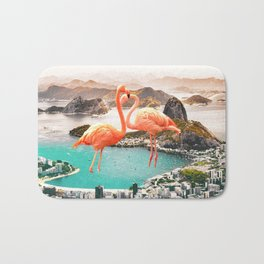 Collage, Flamingo, City, Creative, Nature, Modern, Trendy, Wall art Bath Mat