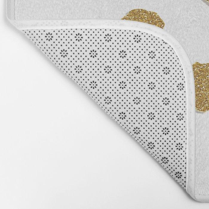 Golden touch III- Gold glitter effect polka dot pattern Bath Mat