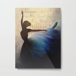 Blue Ballerina Silhouette Metal Print