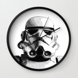 Stormtrooper Hand Drawn Dotwork - StarWars Pointillism Artwork Wall Clock