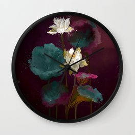 Lotus in Violets. Wall Clock