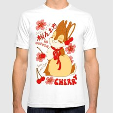 Jackalope and Cherry SMALL Mens Fitted Tee White