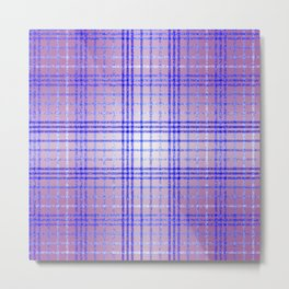 Thin Blue and Purple Speckled Tartan Pattern Metal Print