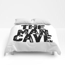The Man Cave (black text on white) Comforters