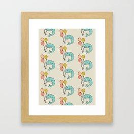 Festive Narwhal Pattern Framed Art Print