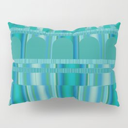 Blue Green Arches and Stripes Pattern Pillow Sham
