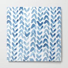 Blue Chevron Watercolour Metal Print