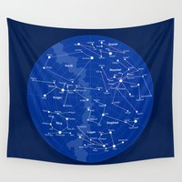 constellations Wall Tapestries featuring Superheroes Constellations by tuditees