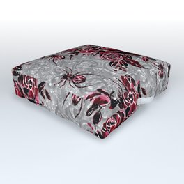 Vintage Roses and Spiders on Lace Halloweeen Watercolor Outdoor Floor Cushion