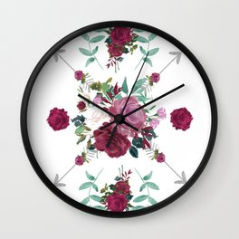 Floral Pattern with Arrows Wall Clock
