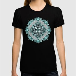 Teal and Aqua Lace Mandala on Grey T-shirt