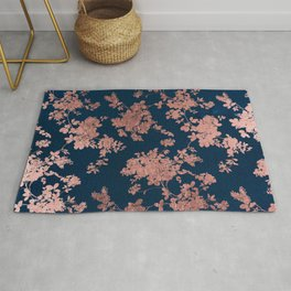 Navy blue faux rose gold watercolor floral Rug