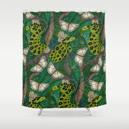 entangled forest green Shower Curtain