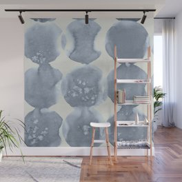 Shibori Wabi Sabi Indigo Blue on Lunar Gray Wall Mural