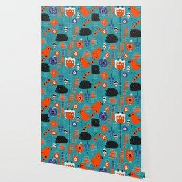 Modern birds and sleepy cats Wallpaper