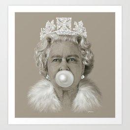 Queen Elizabeth II Blowing White Bubble Gum Art Print