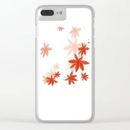 Falling red maple leaves watercolor painting Clear iPhone Case
