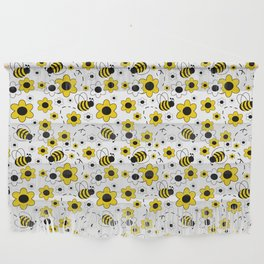 Honey Bumble Bee Yellow Floral Pattern Wall Hanging