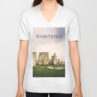 religious V-neck T-shirts featuring Stonehenge by Solar Designs