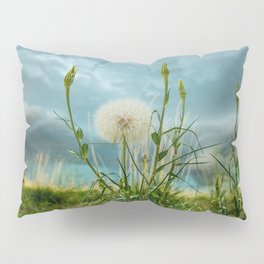 Touchdown - Dandelion Raises Arms in Air During Storm Pillow Sham