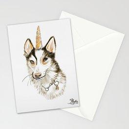 Magical Husky Unicorn Dog on White Background Stationery Cards