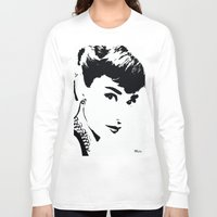 hepburn Long Sleeve T-shirts featuring Audrey Hepburn by Saundra Myles