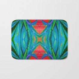 WESTERN MODERN ART OF BLUE AGAVES RED-TEAL Bath Mat