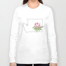 washington // watercolor rhododendron state flower map Long Sleeve T-shirt