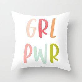 GRL PWR, Hand Lettered Feminist Design Throw Pillow