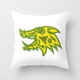 Boar Head Celtic Knot Throw Pillow