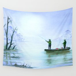 Fishing For Bass Wall Tapestry