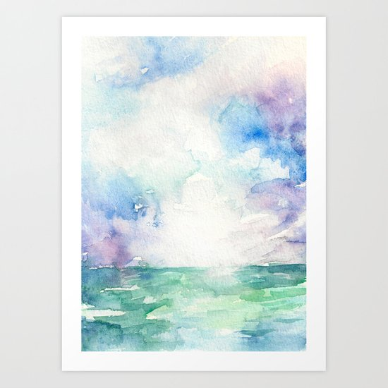 Colored Sky Watercolor Painting Art Print