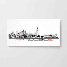 Pardubice skyline city black Metal Print