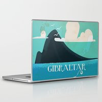travel poster Laptop & iPad Skins featuring Gibraltar vintage Travel poster by Nick's Emporium Gallery
