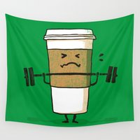 coffee Wall Tapestries featuring Strong Coffee by Picomodi