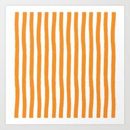 Orange and White Cabana Stripes Palm Beach Preppy Art Print