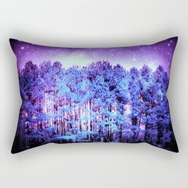 Turquoise Trees Purple Space Rectangular Pillow
