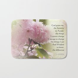 Serenity Prayer Cherry Blossom Glow Bath Mat