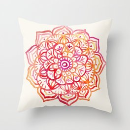 Watercolor Medallion in Sunset Colors Throw Pillow