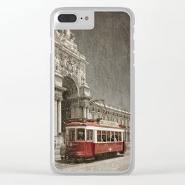 Praca do Comercio tram, Lisbon Clear iPhone Case