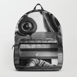 First I Drink the Coffee, Then I do the Stuff - hangover black and white photograph / photography Backpack