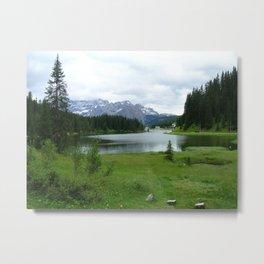 Green Land, Dark Sky and White Mountains Metal Print
