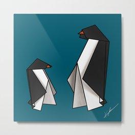 Origami Penguins Metal Print
