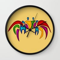 crab Wall Clocks featuring Crab by Aleksandra Mikolajczak