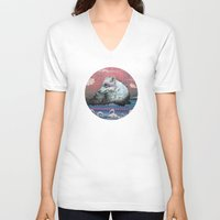 mountains V-neck T-shirts featuring Lone Wolf by Mat Miller