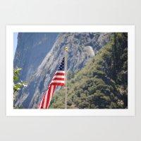 American Flag in Yosemite Art Print