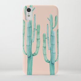 Besties Cactus Friends Turquoise + Coral iPhone Case