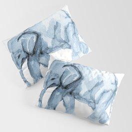 Elephant Sketch in Blue Pillow Sham
