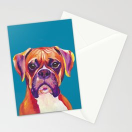 Boxer Face Blue boxer dog breed funny dog animals pets Stationery Cards
