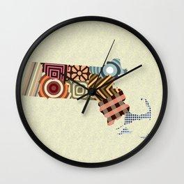 Massachusetts State Map Wall Clock